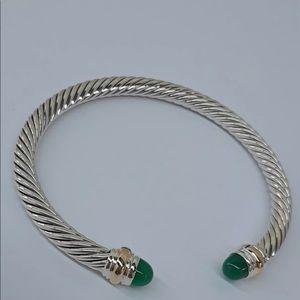 🌼DAVID YURMAN Silver Cable Bracelet Green onyx